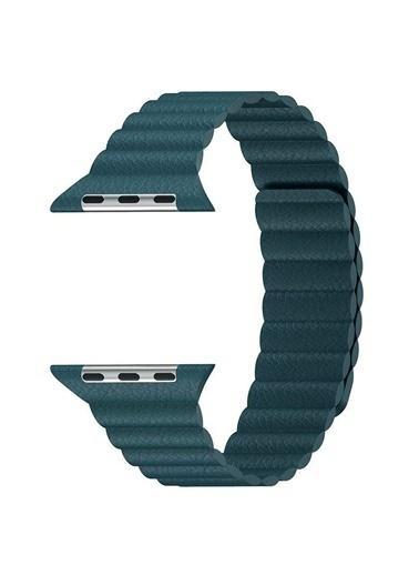 Microsonic Apple Watch SE 40mm Twist Leather Loop Kordon Yeşil